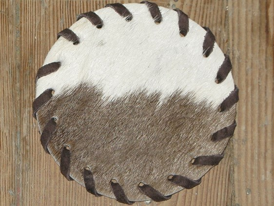 Cow Hide Coaster - Brown & White