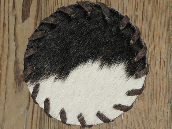 Cow Hide Coaster - Black & White