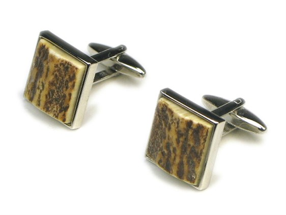 Cuff Links - Stag Antler - Square