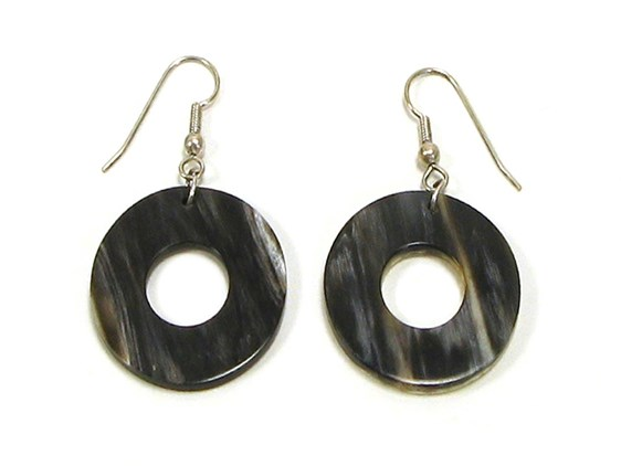 Round Horn Earrings | Handmade cow horn earrings
