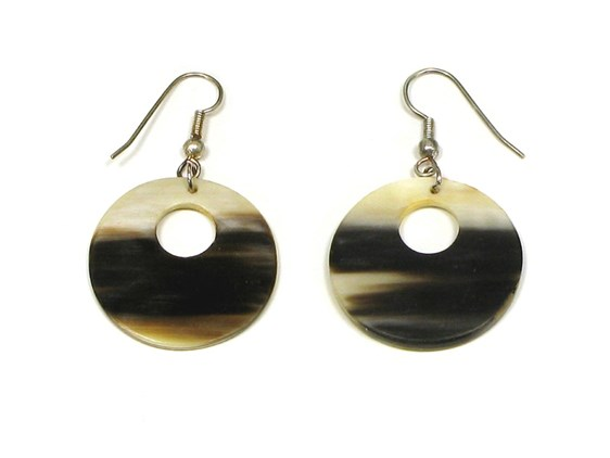 Round Horn Earrings With Off Centre Hole | Horn Drop Earrings