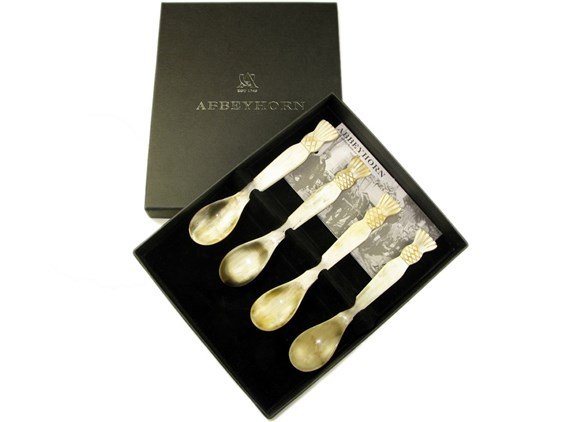 Box of Four Thistle Ended Horn Egg Spoons