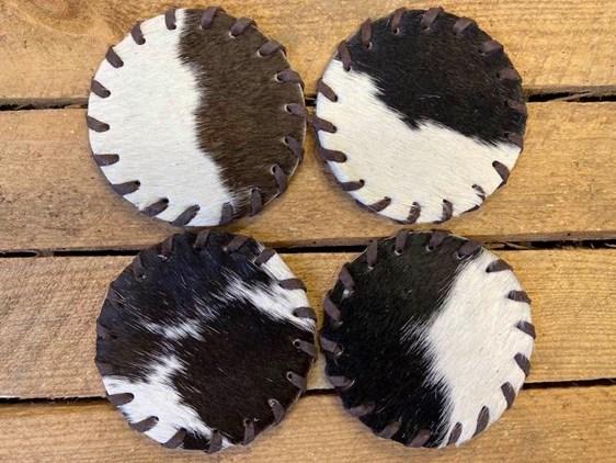 Cow Hide Coasters - Pack of 4