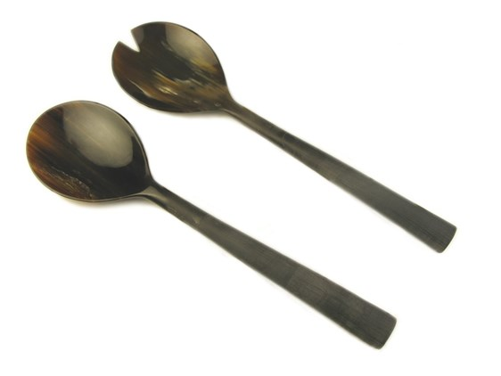 Small Rounded Buffalo Horn Salad Servers