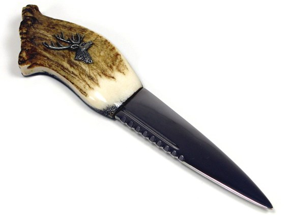 Stag Antler Handle Sgian Dubh With Deer Head