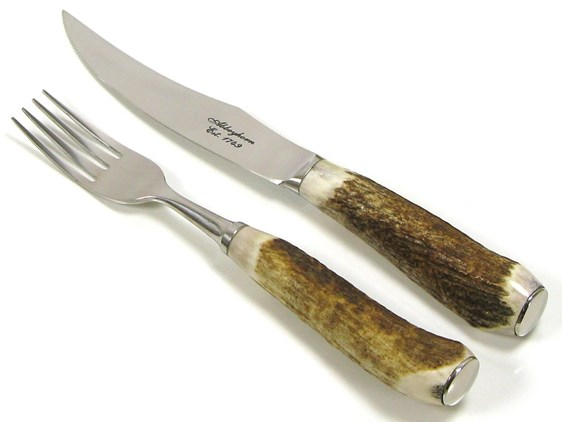 Steak Knife & Fork - Stag Antler