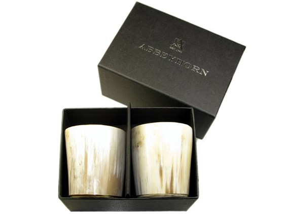 Set of Two Horn Cup / Whisky Tots