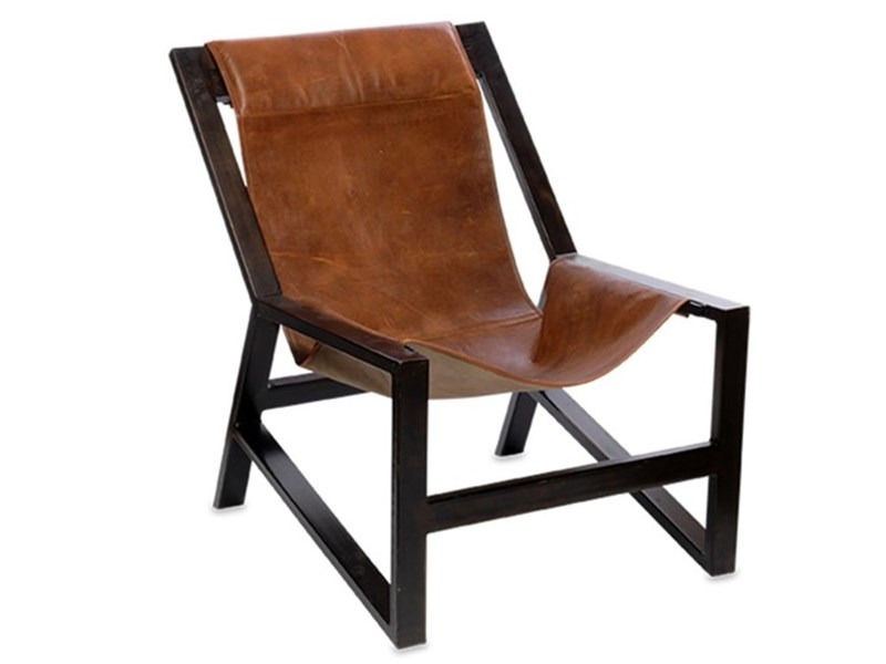 Distressed Finished Aged Leather Iron Frame Chair