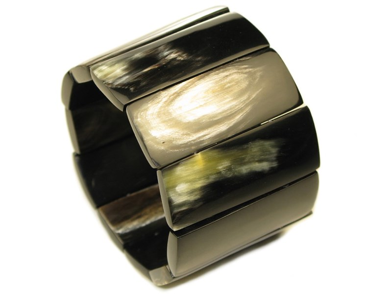 Cow Horn Strung Rectangle Bead Ladies Bangle