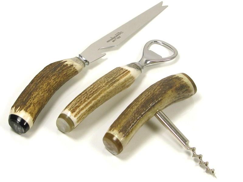 Bottle Opener, Bar Knife & Corkscrew Stag Antler Bar Set