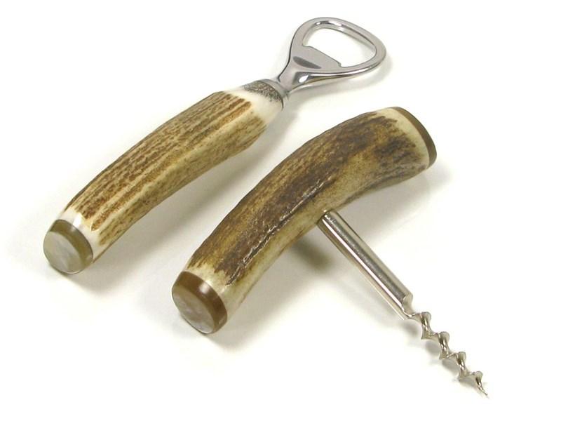Corkscrew & Bottle Opener Two Piece Stag Antler Bar Set