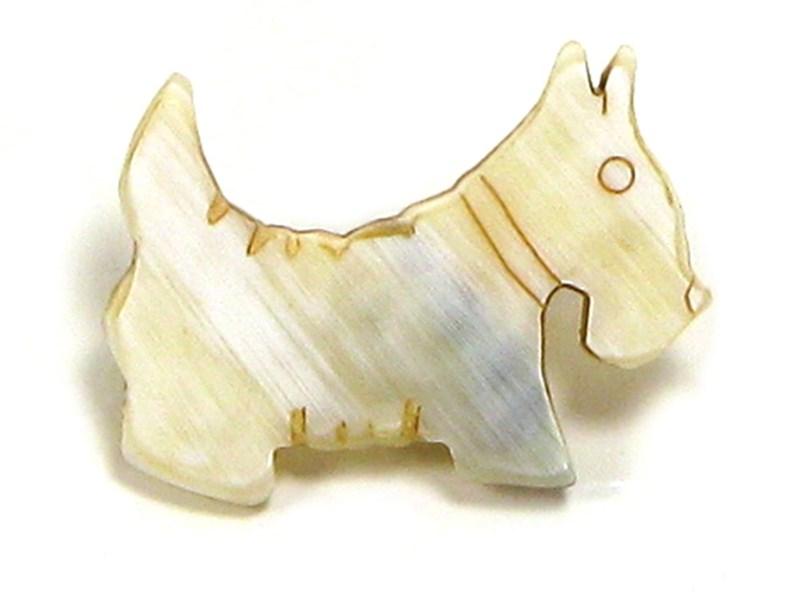 Cow Horn Scottie Dog Brooch