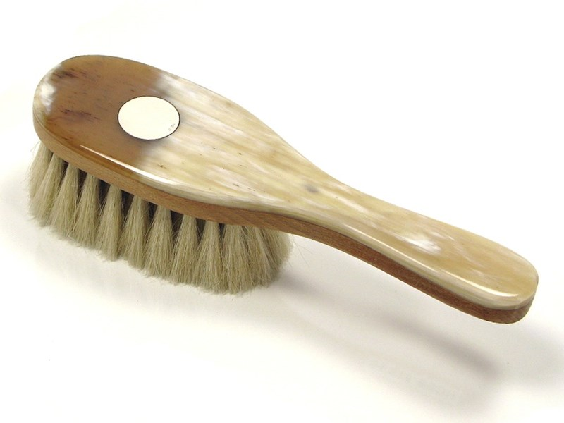 Horn Backed Baby Brush With Silver Disc Goat Hair Baby Brush