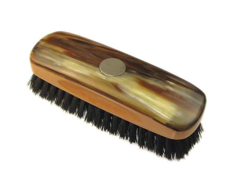 Small Rectangular Oxhorn Backed Horn Clothes Brush With Silver Disc