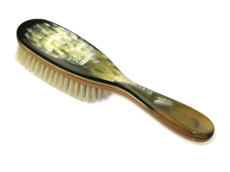 Pearwood & Horn Hair Brush With Handle