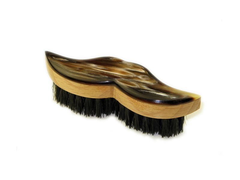 Oxhorn Backed Moustache Brush - Beech Wood