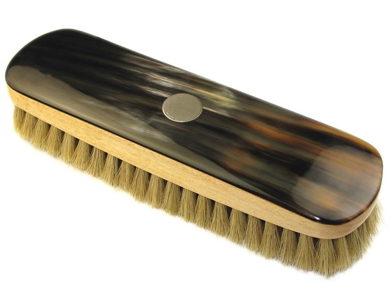 Large Rectangular Horn Backed Light Shoe Brush with Silver Disc