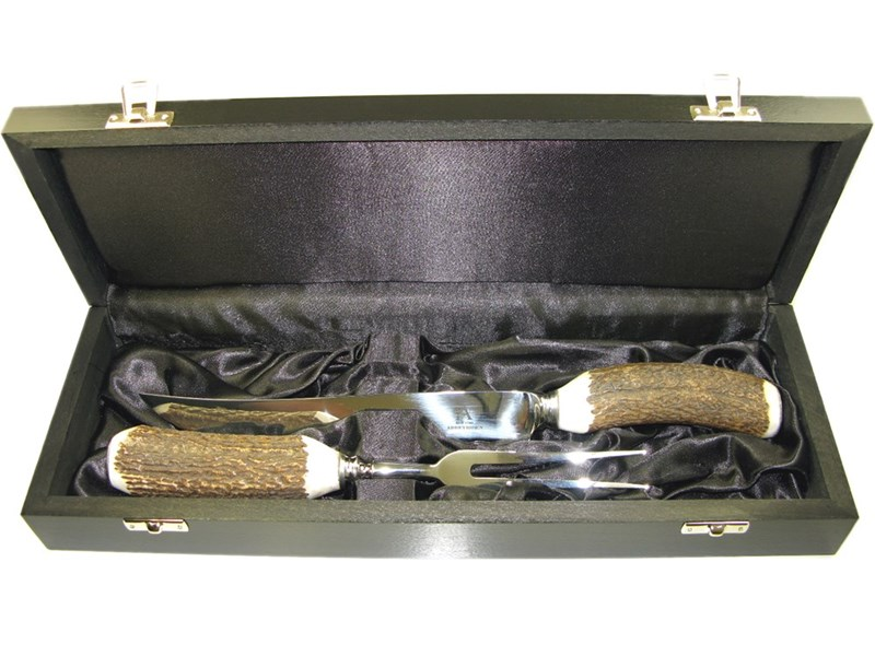 BoxedStag Antler Handle Two Piece Carver Set