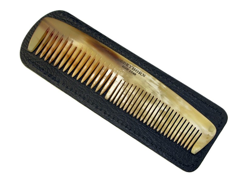 """5"""" Horn Comb & Leather Case"""