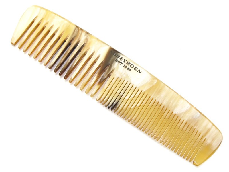 """5"""" Cow Horn Comb with Double Teeth"""