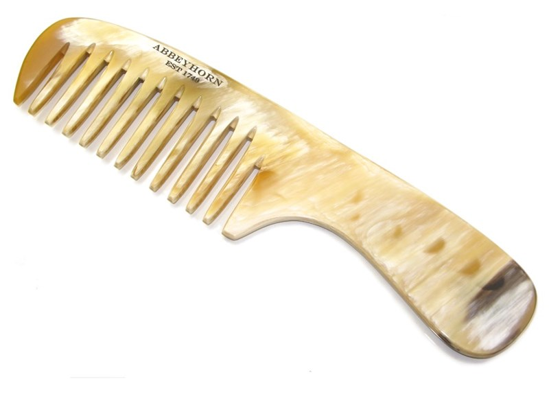 Cow Horn Wide Single Tooth Comb With Handle