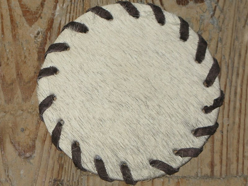 Cow Hide Coaster - White
