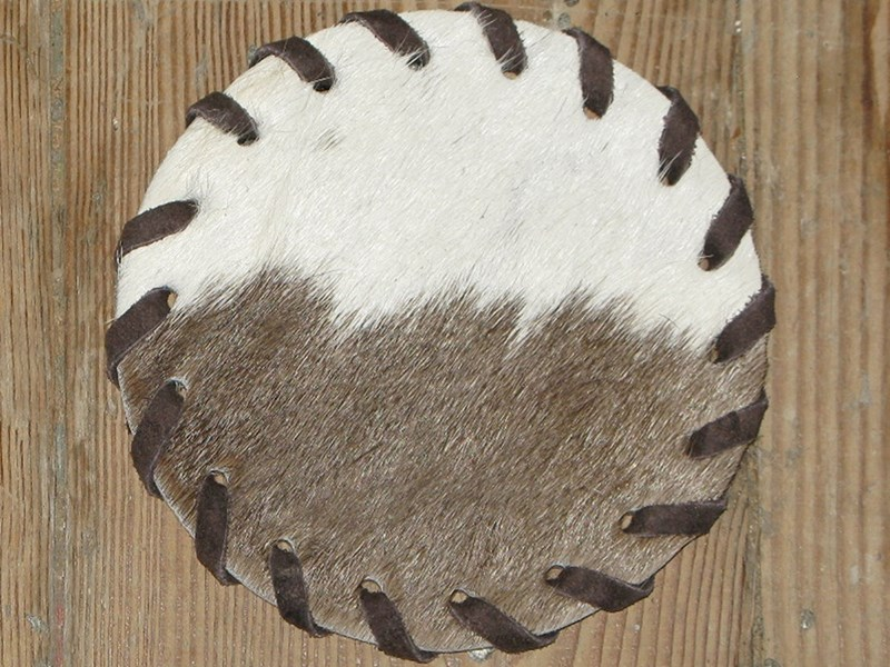 Cow Hide Coaster - Brown & White