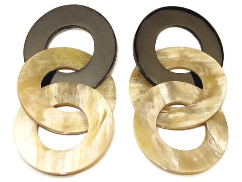 Circle Links Horn Drop Earrings