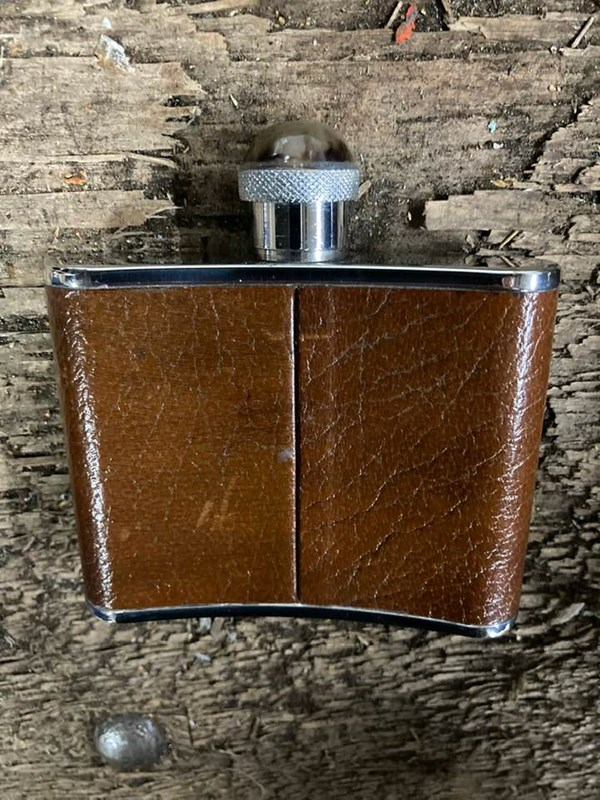Leather Hip Flask with Horn Cap