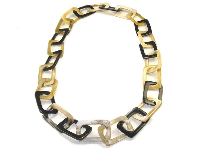 Rectangle Links Horn Necklace