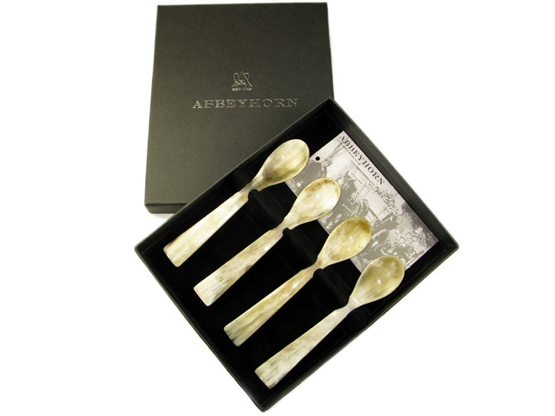Box of Four Square End Horn Egg Spoon