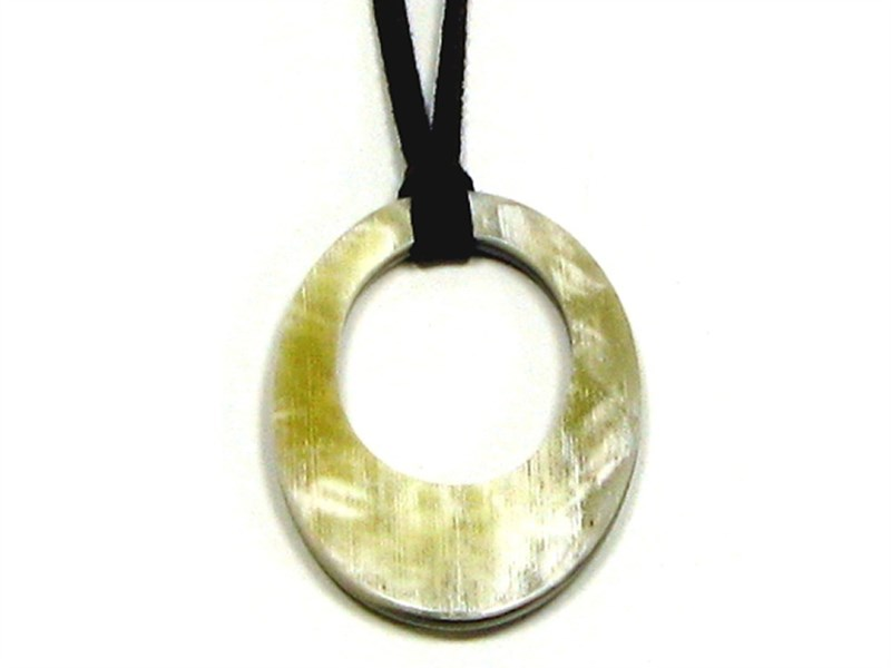 Flat Oval Horn Pendant With Hole