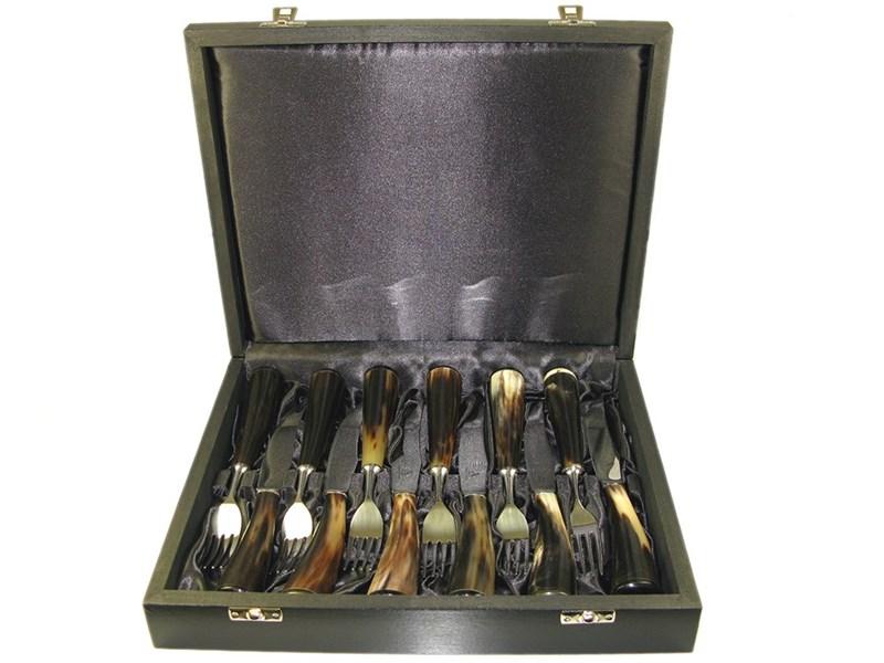 Set of Six Boxed Polished Ox Horn Steak Knives & Forks