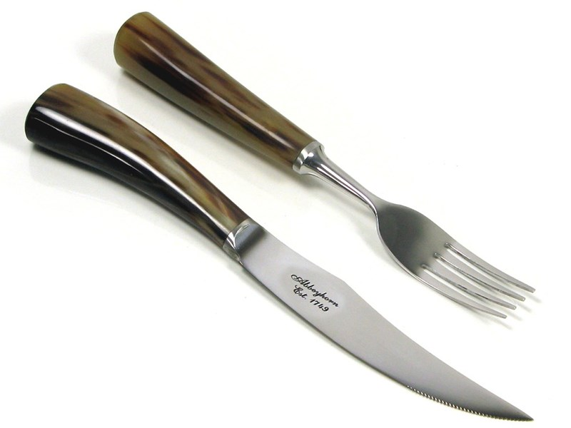 Polished Horn Handle Steak Knife & Fork