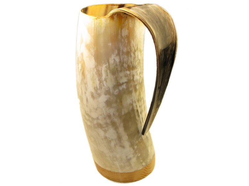 1 Pint Polished Cow Horn Viking Mug / Tankard