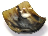 Curved Square Polished Cow Horn Bowl