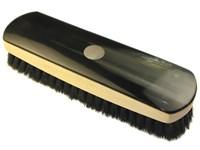 Large Rectangular Horn Backed Dark Shoe Brush with Silver Disc