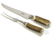 Stag Antler Handle Two Piece Carver Set