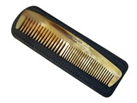 Small Cow Horn Double Tooth Comb & Leather Case