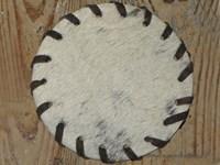 Cow Hide Coaster - White