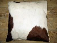 Cow Hide Cushion - Brown & White