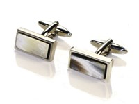 Narrow Rectangle Cow Horn Cufflinks
