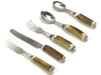Five Piece Stag Antler Handle Dinner Set