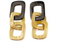 Square Links Horn Earrings