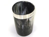 Horn Pen Cup / Beaker With Silver Band