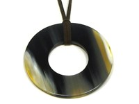 Round Horn Pendant With Centred Hole