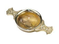 Tiny Ox Horn Quaich With Pewter Handles