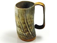 1 Pint Rough Finished Cow Horn Soldiers Mug / Cup