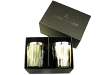 Whisky Tot - Oxhorn - Polished - Silver Band - Two Boxed