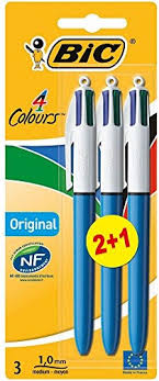 Bic 4 Colour Ball Pen 3 Pack